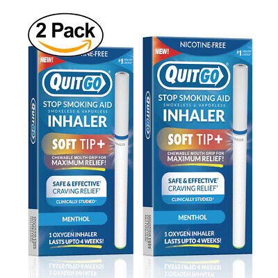 QuitGo Menthol Flavored Smoking Cessation Inhaler with Soft Tip 2 Pack