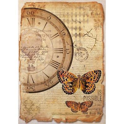 Stamperia Rice Paper MIXED MEDIA CLOCK & BUTTERFLY A4 Sheet DFSA4372 Decoupage