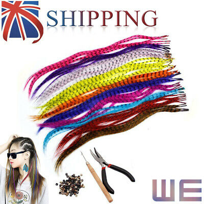 35 Synthetic Feathers Hair Extension Kit & 100 Beads & 1 Plier & Hook Gifts