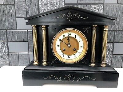 French chiming Black Slate and Marble Mantel Clock c1880/90s