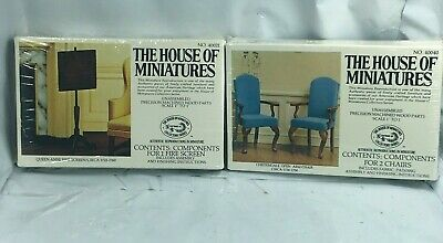 X-Acto Lot House Of Miniatures #40040 Chippendale ARM CHAIRS #40021 Fire Screen