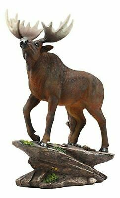 "Ebros Realistic Bull Moose Standing On Rock Statue 13.5""Tall Figurine"