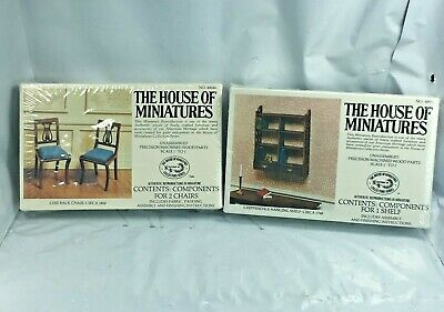 Lot House Of Miniatures #40044, 2 LYRE BACK CHAIRS #40032 Chippendale Shelf NEW