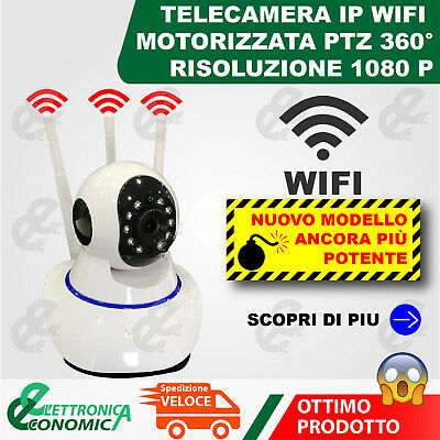 Telecamera Ip Cam Camera Hd 1080P Wireless Led Ir Lan Motorizzata Internet Onvif