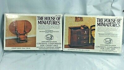 Lot House Of Miniatures #40075 CHAIR TABLE #40019 CHIPPENDALE DRY SINK RARE NEW