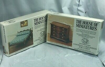 Lot House Of Miniatures #40050 Chippendale Chest #40033 Low Post Bed Sealed New