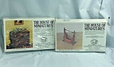 Lot House Of Miniatures #40003 Hutch Cabinet #40063 Swinging Cradle X-Acto New
