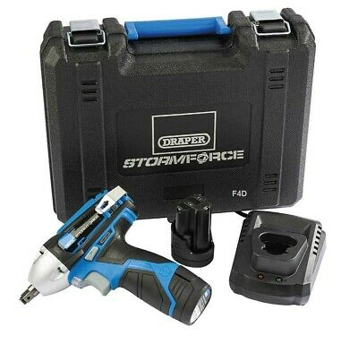 "Draper 10.8V Lithium 3/8"" Cordless Impact Wrench 2 Batteries & Charger 78584 New"