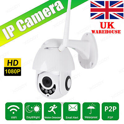 1080P WIFI IP Camera WHITE Wireless Outdoor CCTV HD Home Security IR Cam UK