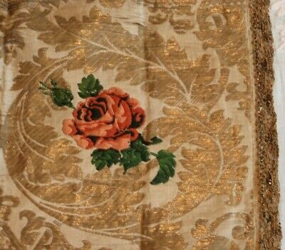 "Antique 18thC French Gold Metallic Rose Brocaded Mat Silk~Metallic Trim~21""X16"""