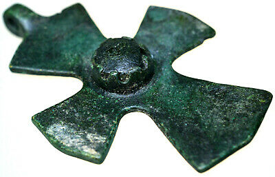 Byzantine Bronze Cross Pendant with Stone