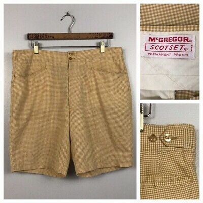 1960s Gingham Checked Shorts /60s Mod High Waist Golf Shorts Swim Trunks / Large
