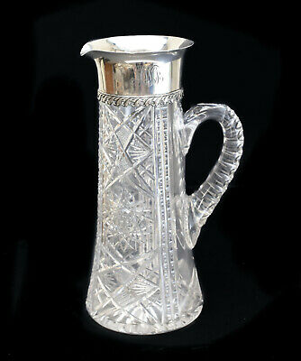 Tiffany & Co. Makers Sterling Silver Mounted & Cut Glass Pitcher, circa 1905