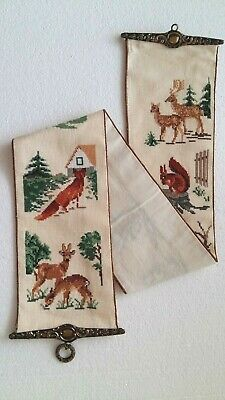 Vtg.Hand Embroidery Cross Stitch Wall Hanging Tapestry Bell Pull Brass Hardware