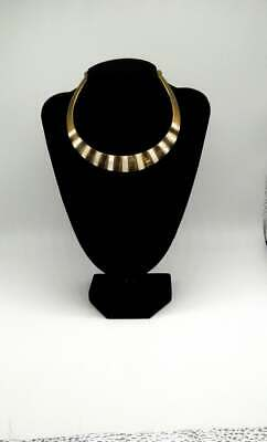 Egyptian Revival Art Deco Brass and Shell and Mother of Pearl Collar Necklace