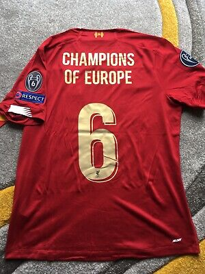 Liverpool FC 2019/20 Home Shirt Champions League 6 Patch & 2019 Badge