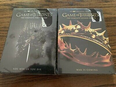 NEW Game of Thrones Complete Seasons 1 & 2 HBO Series 10 DVD Set, Fast FREE Ship