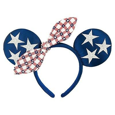 NEW Disney Parks Minnie Mouse All American Girl Blue with Stars Headband