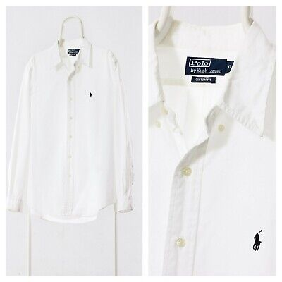 90s Mens Vintage POLO RALPH LAUREN White Oxford Long Sleeve Casual Shirt Size XL