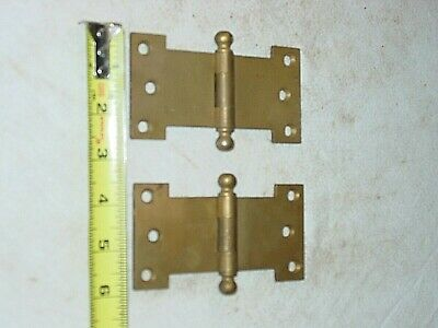 "1 Pair Vintage Antuque 2 1/2"" X 5"" Cannon Ball Tip Brass Hinges Trunk Specialty"