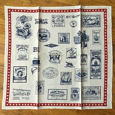 Vintage Libeco Linen Red White and Blue Tea Towel w/ Vintage American ADs