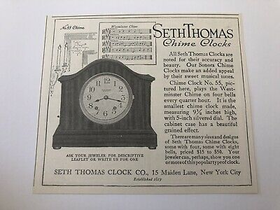 1915 Seth Thomas Clock Co New York City Magazine Advertisement #ADB75