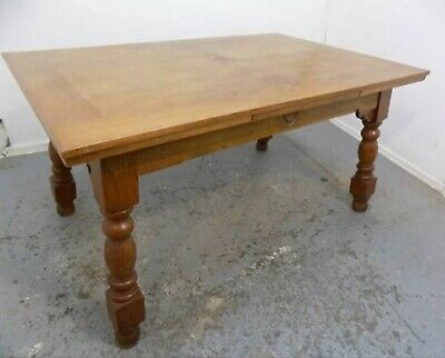Large Solid Oak Extending Dining Table Seats 10-12