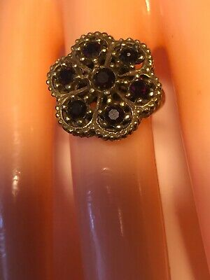 Antique Ring With Garnet Stones 22k Over Gold Platel 6 1/2""