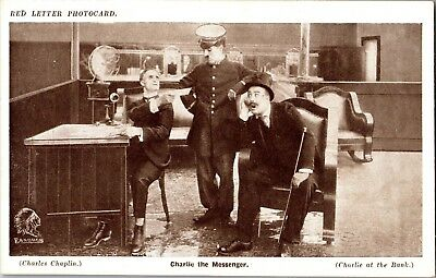 Charlie Chaplin Red Letter Photo Card at the Bank Charlie the Messenger n169