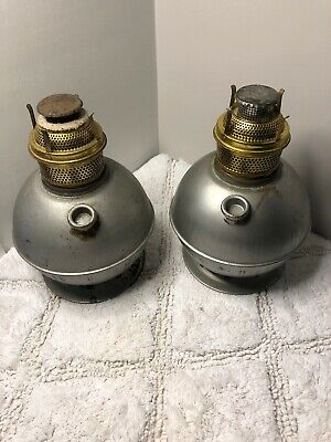 Pair Tare Unusual Trench Art? Oil Lamp Smudge Pot Font ABCO Burner Steampunk