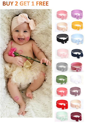 Baby Nylon Soft Bow Head Wrap Turban Top Knot Headband Newborn Girl Accessories