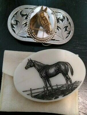 """Lot of 2 vintage Rodeo-style HORSE belt BUCKLES 3 1/2"""" EACH"""