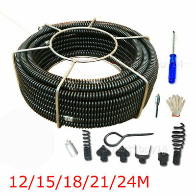 Plumber Drain Snake Pipe Pipeline Sewer Cleaner 24M+2.5M w/ 6 Drill Bit Drill
