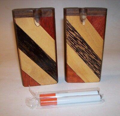 "Two Piece Combo Set 4"" Wood Dugout One Hitter Smoking Pipes Multi-Color Stripes"