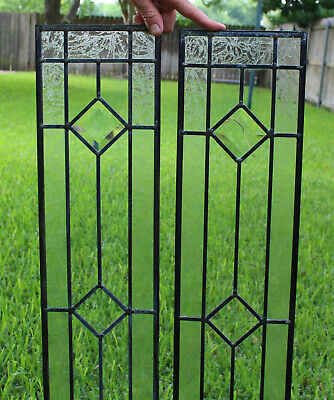 Pair Antique Stained Glass Diamond Jewels Bevel Frosted Leaded Transom Windows