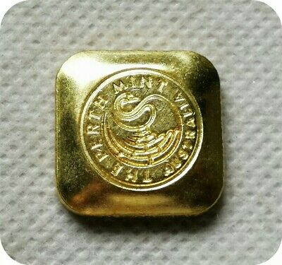 Perth Mint 1 oz gold plated bar button replica - FREE SHIPPING FROM VIC.