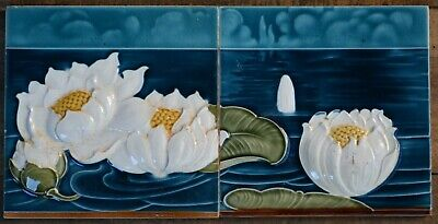 Germany - Boizenburger - Antique Art Nouveau Majolica 2 Tile Set C1900