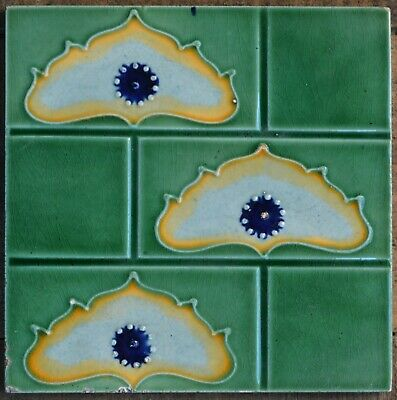 Antique Art Nouveau Majolica Tile From Czech Rako