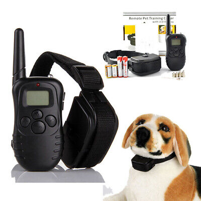 Adjustable Dog Training Shock Collar Rechargeable LCD Electric Remote Control