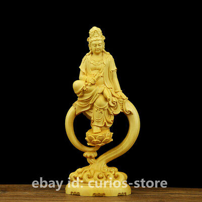Chinese Box-wood HandCarved Buddhism Water Wave Guan Yin Kwan-yin Goddess Statue
