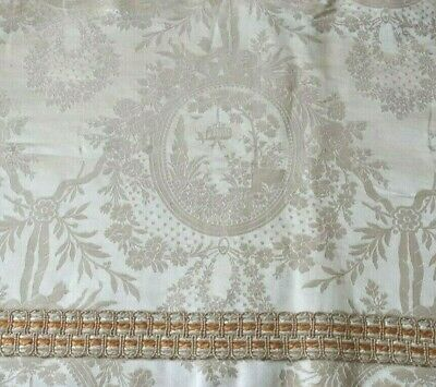 "Beautiful Antique c1880 French Romantic Toile Silk Damask Valance~L-54"" X W-18"