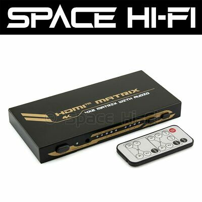 4x2 HDMI Matrix Switch with Remote + Audio Extractor (4 In 2 Out) 4K Ultra HD