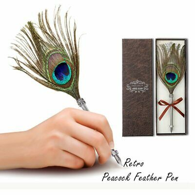 1X(Creative Craft Vintage Feather Pen Vintage Carved Stainless Steel Felt P F7F6