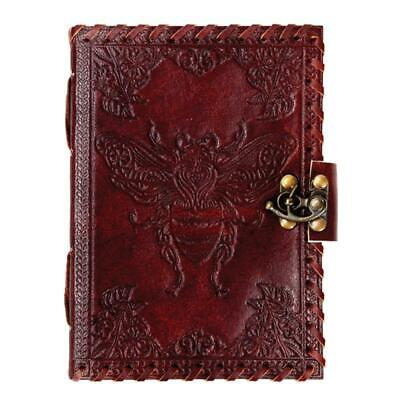 """NEW Bee Leather Journal 5x7"""" Unlined Handmade Blank Book Embossed with Latch"""