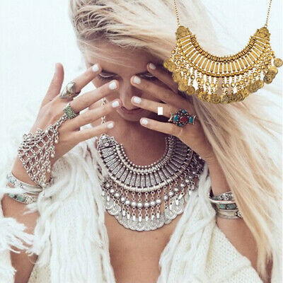 Bohemian Coin Turkish Tribal Gypsy Necklace Ethnic Collar Curved Bib Boho Choker