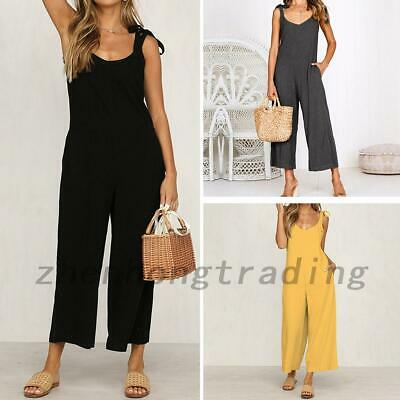 Loose Fit Women Wide Leg Palazzo Pants Jumpsuit Trousers Overalls Playsuit Beach
