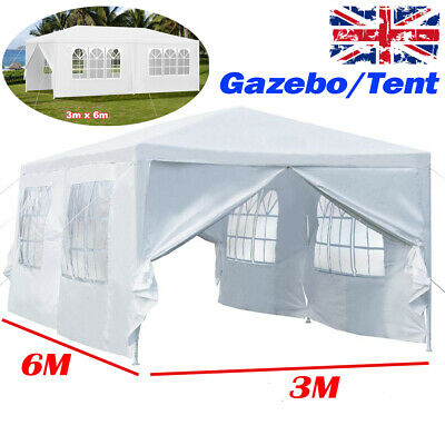 White 3 x 6 m waterproof party wedding garden awning canopy marquee tent gazebo