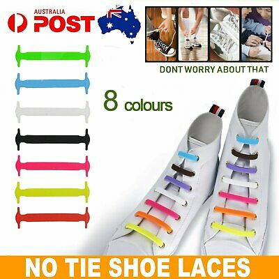 Easy Lazy No Tie Elastic Silicone Shoe Laces Cool Guy Kids Shoelaces Unisex AU