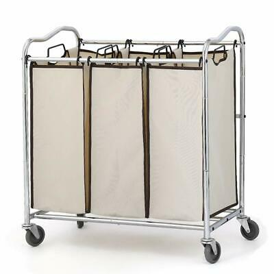 Classic Rolling Chrome Laundry Cart Heavy Duty 3 Bags with Rolling Wheels