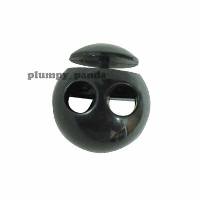 "Black 2 Holes Ball ( Hole = 3/16"" ) Cordlock Round Cord Locks Toggle Stopper End"